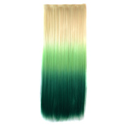 Abwin Blonde to Light Green to Green Coloured Clip in Hair Extensions