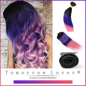 Tomorrowlover Ombre brazilian hair Three Tone 1b/Blue/pink Brazilian Straight hair extension ,ombre human Hair weave 7A queen Hair Products Brazilian Virgin Hair One bundle 50 Gramme