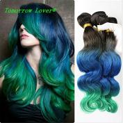 Tomorrowlover Brazilian Bove Wave Virgin Hair Three Tone 1B T Blue T Green Brazilian Hair Bundles One Bundle lot 50 Gramme 100% Ombre brazilian Virgin Hair