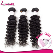 20cm - 70cm Virgin Brazilian Hair Weft Curly Wave Human Hair 3 Bundles Natural Colour #1B (50cm 50cm 50cm )with Free Gift