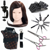 Neverland Beauty 60cm 30% Real Hair Hairdressing Equipment Styling Training Head With Barber Tools