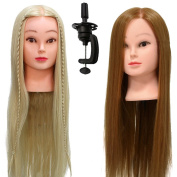 Neverland Beauty 2 X Professional 70cm Super Long 100% Synthetic Hair Hairdressing Equipment Styling Head Doll Mannequin Training Head (Blonde and Brown) With The Free Clamp