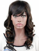 Eseewigs Pretty Wavy Long Synthetic Wigs for Black African Amercian Women 1B/30 Highlight 2 Colour Wigs