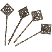 Antiqued Brass Colour Diamond Filigree Bobby Pin 64.5mm