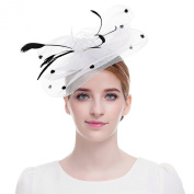 Valdler Elegant Women Lady Girls Rhinestone Net and Veil Fascinator Hair Clip Hat with Embroidered Flowers