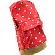 LEFV™ Mini School Bag Pen Case Student's Canvas Pencil Case Children Pen Bag Portable Fashion Polka Dot Cosmetic Makeup Brushes Pounch Cellphone Pocket Coin Purse Stationery Holder Red