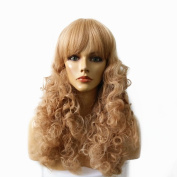 Namecute Long Blonde Curly Synthetic Kanekalon Wig for Women