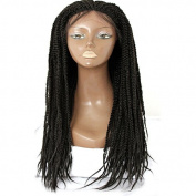 Black colour handmade collection synthetic lace front braided wig for black women 60cm