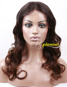 Riglamour African American Ombre Brown Body Wave Middle Part Wig Lace Front Remy 100% Brazilian Human Hair Wigs for Women 41cm 2 Tones Colour