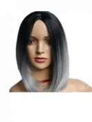 Kalyss® Women's Short Bob Grey Black Fashion Top Quality Synthetic Hair Wigs for Women