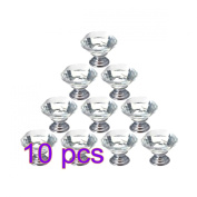 Drawer Pull Handles, YIFAN 10Pcs 30mm Crystal Glass Diamond Shape Cabinet Cupboard Drawer Pull Knobs Set with Silver Screws - Transparent