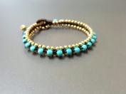 Handmade Turquoise Woven Brass Bead Bracelet