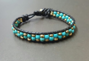 Turquoise Brass Donut Black Leather Bracelet