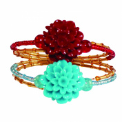 DIY Bead Bracelet Trendy Stunning Fun Flower Burgundy/Teal Or Purple/Rose Caressa Waiting To Be Handcrafted By You