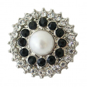 Chunk Snap Charm Pearl Centre Black and Clear Crystal Borders 20mm