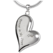"ZARABE Cremation Jewellery Irregular Heart ""Dad Forever in My Heart"" Memorial Ash Pendant Urn Necklace Keepsake"