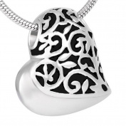 ZARABE Cremation Jewellery Heart Filigree Sideway Memorial Ash Pendant Urn Necklace Keepsake