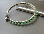 Jade Woven Silver Bead Anklet