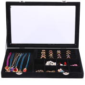 Novadeal Velvet Leather Anti-Static Multifunction Necklace Earring Jewellery Tray Box Glass Rings Pendant Storage Display Organiser - Black