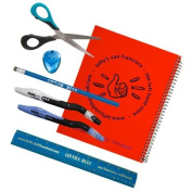 7 Piece Set for Left-Handed Middle Schoolers - Blue Implements, Red Notebook