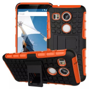For LG Nexus 5X, Urvoix(TM) Hybrid Heavy Duty Dual Layer Shock Proof Rugged Shell Grenade Grip Tyre (NOT for nexus5) Orange