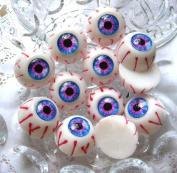 10 pcs of Glass Tiles Eye Eyeball Half round Resin Cabochon Flatback 24x16mm Purple
