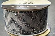 Ribbon Mini Spool - Glitter Chevron 1.5m - Silver