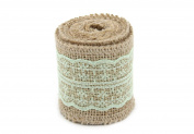 Junxia 2 Yards Natural Hession Burlap Ribbon Middle Lace for Vintage Wedding Party Decoration
