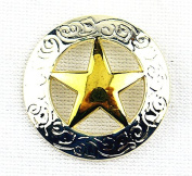 Lemo 10pcs Western Silver & Gold Texas Star Saddle Conchos 3Cm TO183