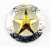 Lemo 10pcs Western Silver & Gold Texas Star Saddle Conchos 3Cm TO183