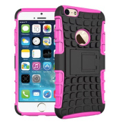 For iPhone 6 Plus / iPhone 6S Plus, Urvoix(TM) Hybrid Heavy Duty Dual Layer Shock Proof Rugged Shell Grenade Grip Tyre Kickstand Case Cover for 14cm iPhone 6Plus/6SPlus (NOT for iPhone6) Pink