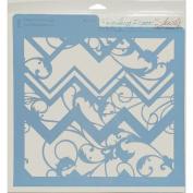 Rebecca Baer Stencil 30cm x 30cm -Chevron & Vine