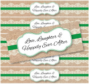 48 Burlap and Lace WATERPROOF Water Bottle Stickers for Favour Bags | Love, Laughter & Happily Ever After |