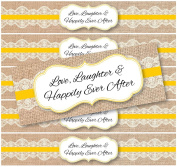 48 Burlap and Lace WATERPROOF Water Bottle Stickers for Favour Bags   Love, Laughter & Happily Ever After  
