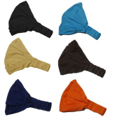 Dark Set of 6 Multi Function Solid High Quality Wide Headbands, Head Wraps CoverYourHair®