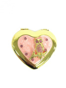 Heart Shaped Brass Small Compact Folding Mirror with Rhinestone Embellishments