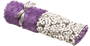 Elonka Nichole Baby Girl Receiving Blanket, Grey/Violet Damask