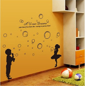 SWORNA Baby Nursery Series Hubble-bubble Girl & Boy Vinyl Removable DIY Kids Children Home Indoor Wall Window Sticker Decor Decal - Bedroom Living Room Kindergarten Playroom Hallway School 130cm H X 140cm W