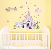 SWORNA Baby Nursery Series Princess Castle Vinyl Removable DIY Kids Children Baby Girls Home Wall Window Sticker Decor Decal - Bedroom Living Room Kindergarten Playroom Hallway School 80cm H X 100cm W