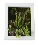 3D Artificial Flowers Wall Hanger Ball Cactus Succulent Plants Moss on the Stone Green Leaves Grass Pink Flower with Frame Shape Vase, Black Frame, 20cm * 25cm
