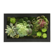 3D House Adornment Metope Wall Decoration Artificial Flowers Succulent plants wedding Decorations living Room Black Frame 20cm * 35cm