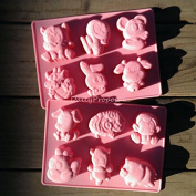 12 Chinese Animal Zodiac Silicone Mould Horoscope Bakeware Baking Cookie Cake Pastry Chocolate Brownie Candy Butter Jello Ice Cream Tray