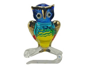 TINY CRYSTAL OWL HAND BLOWN CLEAR GLASS ART OWL FIGURINE ANIMALS COLLECTION GLASS BLOWN