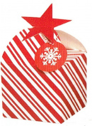 Christmas Holiday Candy Striped Gift Boxes with Gift Tags - Package of 3