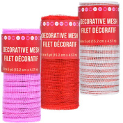 Valentine's Day Inspired DIY Red, Pink & White Decorative Craft Mesh Ribbon, 5-yd. Rolls