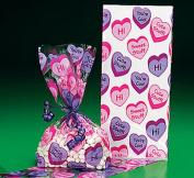 24 Conversation Valentines Heart Cellophane Bags