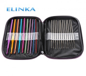 Elinka Mixed Aluminium Handle Crochet Hook Knitting Knit Needles Weave Yarn Set of 22pcs