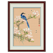 DOMEI Stamped Cross Stitch Kit, Magpie sitting on a branch, 37cm x 49cm