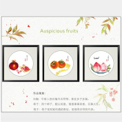 DOMEI Stamped Cross Stitch Kit, Auspicious fruit, 37cm x 37cm