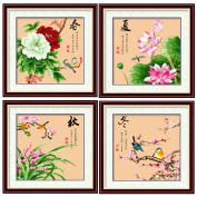 DOMEI Stamped Cross Stitch Kit, Four seasons flowers and birds, 49cm x 49cm